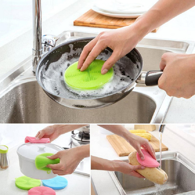 DoreenBeads Household Cleaning Brush Food Grade Silicone Cleaning Appliance Round For Bowl Dish Fruit Cleaning Green 1PC