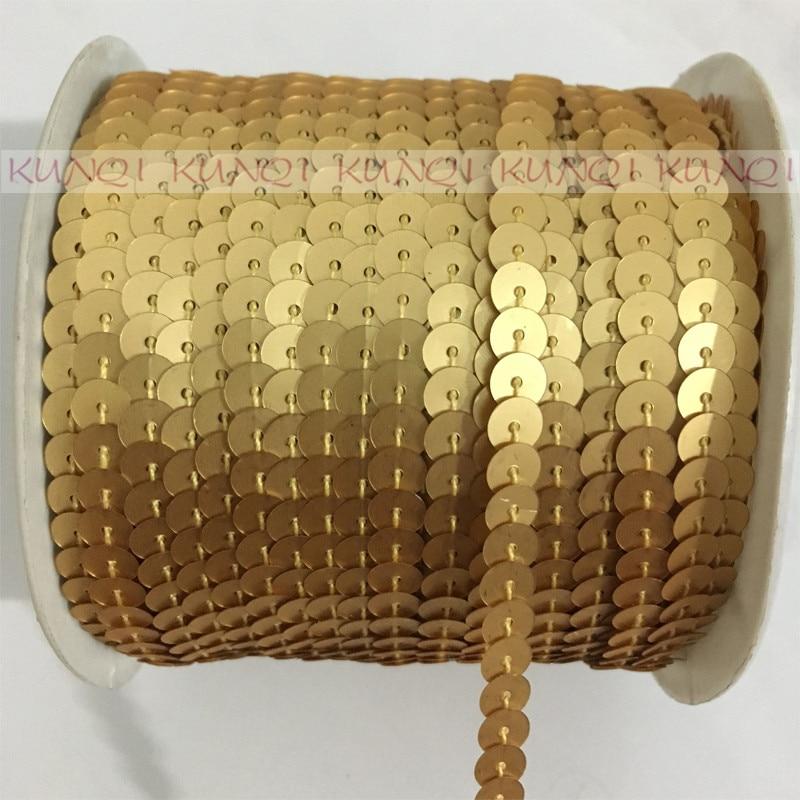 100Yds Sequin Strung Trim Ribbon Wedding Craft Decoration Dressmaking Gold