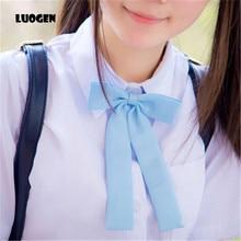 Kawaii Women's Solid Color Japanese School Girls JK Uniform Long Bowtie Tie Students Necktie Cosplay Lolita Gravata Borboleta