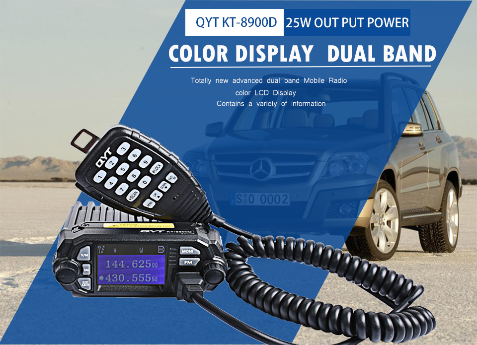 QYT KT 7900D mobile car radio walkie talkie 10 km quad band  fm mobile radio transceiver Mini In Vehicle Mobile Radio-in Walkie Talkie from Cellphones & Telecommunications