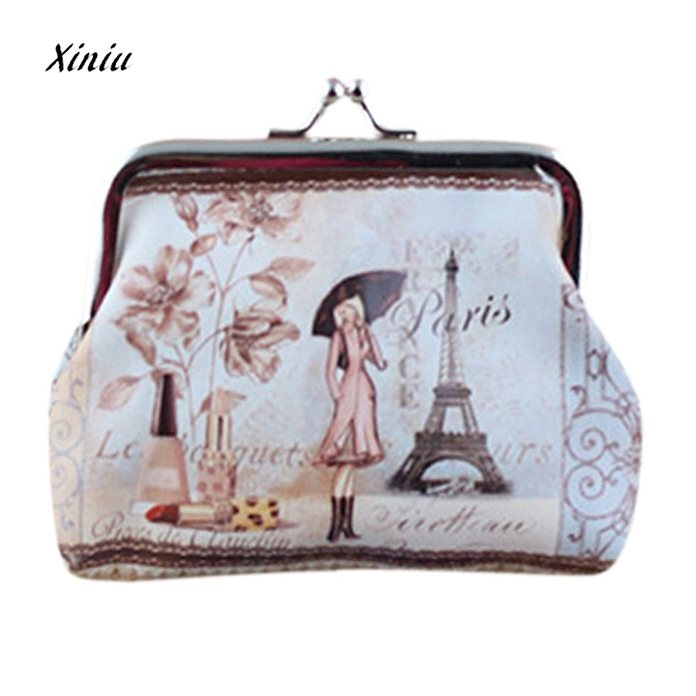 2017 New Fashion Style Women Small Coin Purse Wallet Credit Card Holder Printes Ladies Girls Casual Hasp Clutch Handbag Bag Hot
