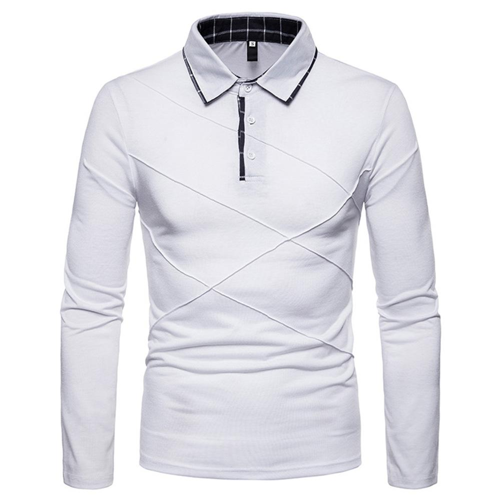 MISSKY Men   Polo   Shirt Casual Shirt Long Sleeve Solid Color   Polo   Shirt Slim Fit Pullover Tops