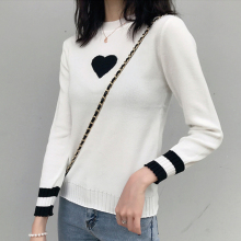 Korean Casual Knitted Women Sweaters and Pullovers Heart pattern Autumn Long Sleeve Thin Knit Women Sweater Crop Sweater raw hem geo pattern crop sweater