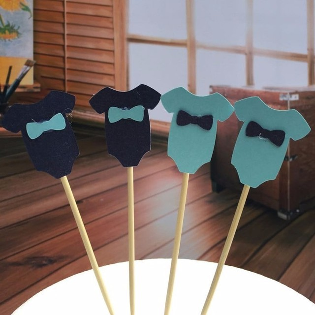 10pcs/lot Cute Baby boy girl Clothes Cupcake toppers picks for Kids Birhday party favors Baby Shower Decoration Supplies 3.5*4cm