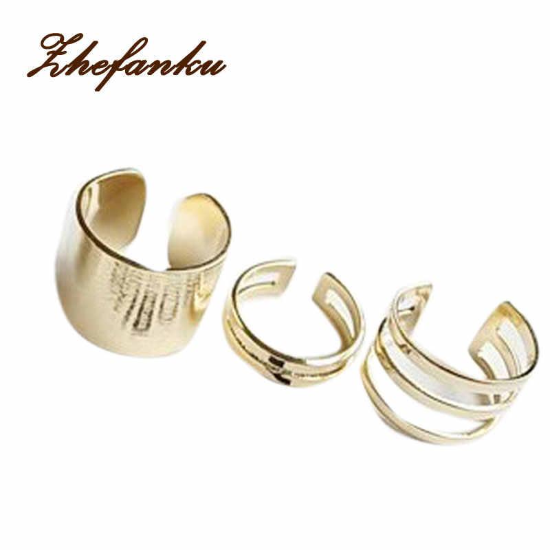 Moda 3 unids/set estilo Punk pila banda simple medio dedo nudillo anillos conjunto Color oro plata color anillo-0221