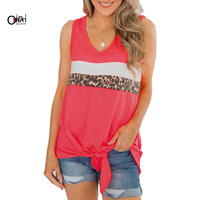 Osunlin Women's Leopard Print Tank Tops Sleeveless V Neck Ruched Sexy Tie Front Wrap Tops Fashion Splice Bandage Tunic Camiseta