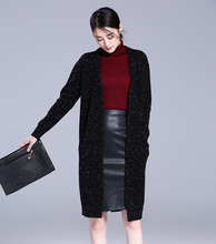 100% goat cashmere clips yarn dots knit cardigan sweater coat