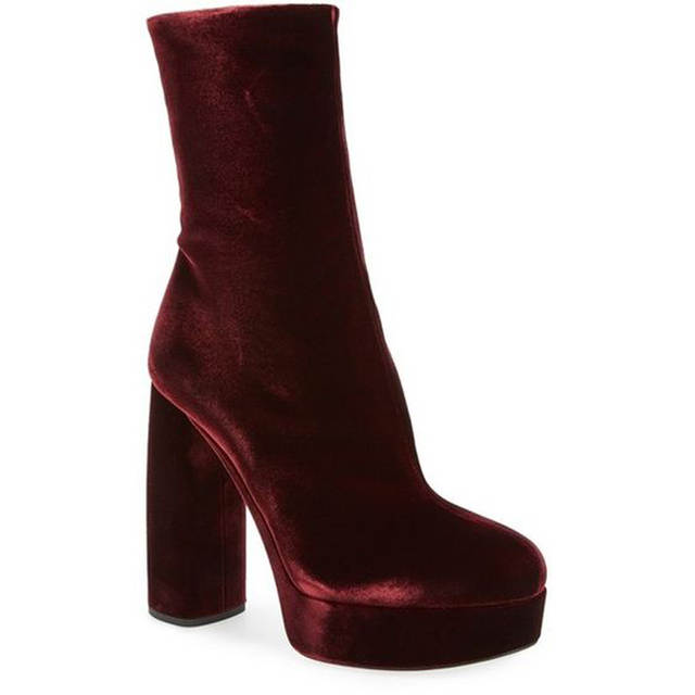 1bed22661c4b Fashion s Most Wanted Claret Velvet Woman Ankle Booties Shoes Black Green  Block Heel Designer High