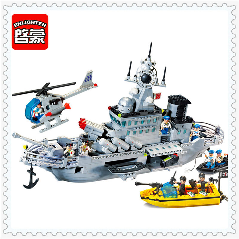 ENLIGHTEN 821 Military Series Missile Cruiser Model Building Block Compatible Legoe 843Pcs Educational  Toys For Children enlighten military series missile cruiser building blocks sets 843pcs educational construction bricks diy toys for children 821