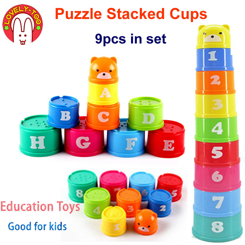 9pcs Stacking Cup Toys BabyTower Figures Letters Children's Pyramid Foldind  Early Educational Intelligence Games