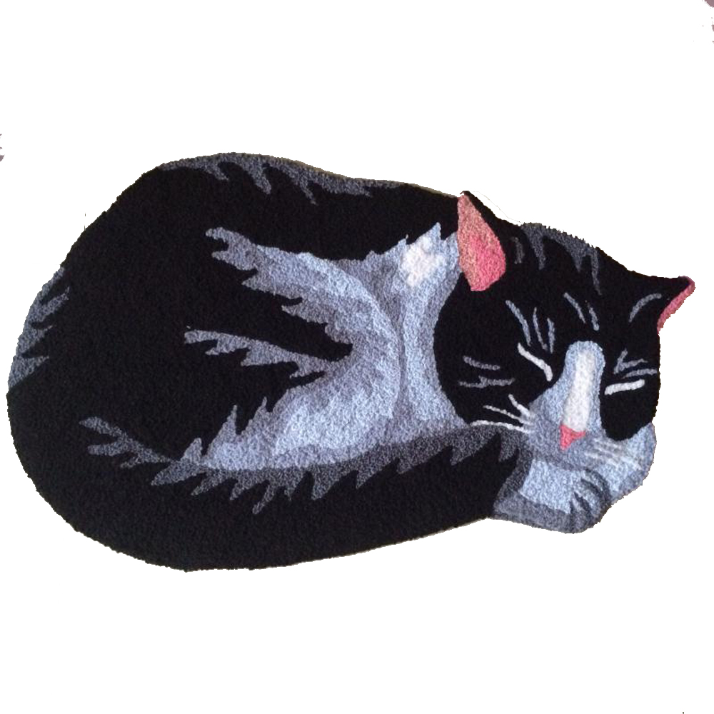 Handmade Knitting Embroidery Cute Black Cats Rug and Carpets Kid children Room Rugs Foot Mat Machine