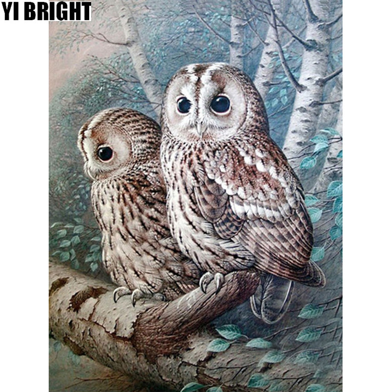 5D DIY Diamond embroidery forest two owls diamond painting Cross Stitch full square Rhinestone mosaic home decoration