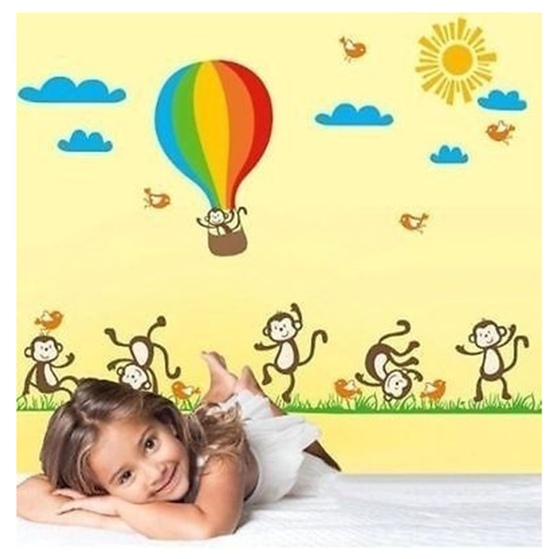 Aliexpress.com : Buy 90*60cm Dancing Monkey Hot Air Balloon Wall ...