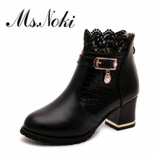 Mode respirant Paillettes femmes bottes d'hiver bout rond talon Carré talon épais chaud en peluche dames chaussons plates-formes solide botas