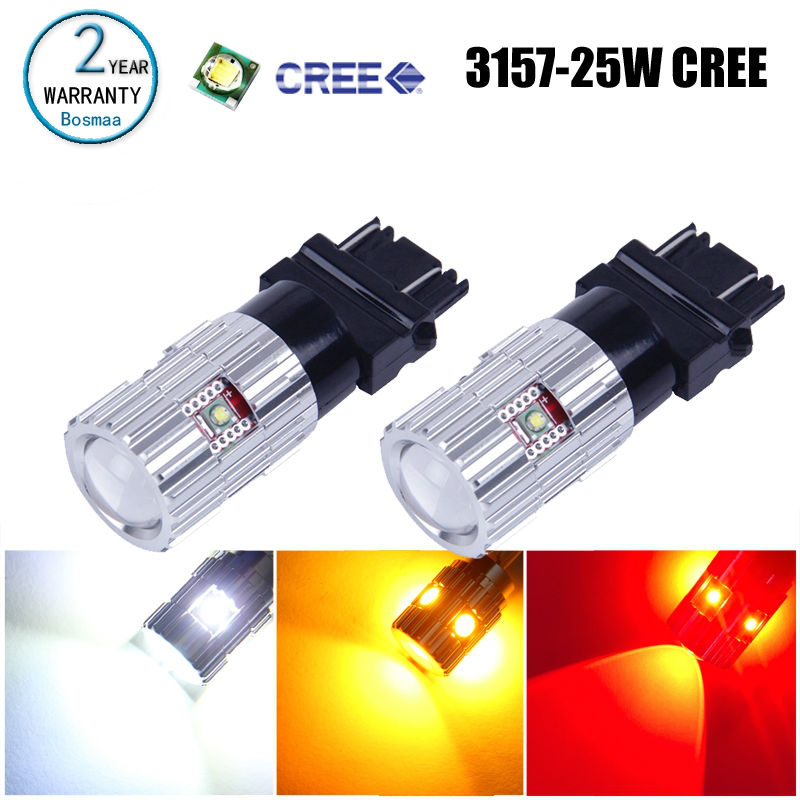 2PCS Bosmaa T25 3157 P27W/7W with chips High Power Bright Brake Driving Lamp Turn signals Reversing Car Led Auto Bulb