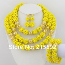 Costume African Jewelry Set Yellow Crystal Beads Jewelry Set Nigerian Wedding African Beads Jewelry Set Free Shipping AJS114
