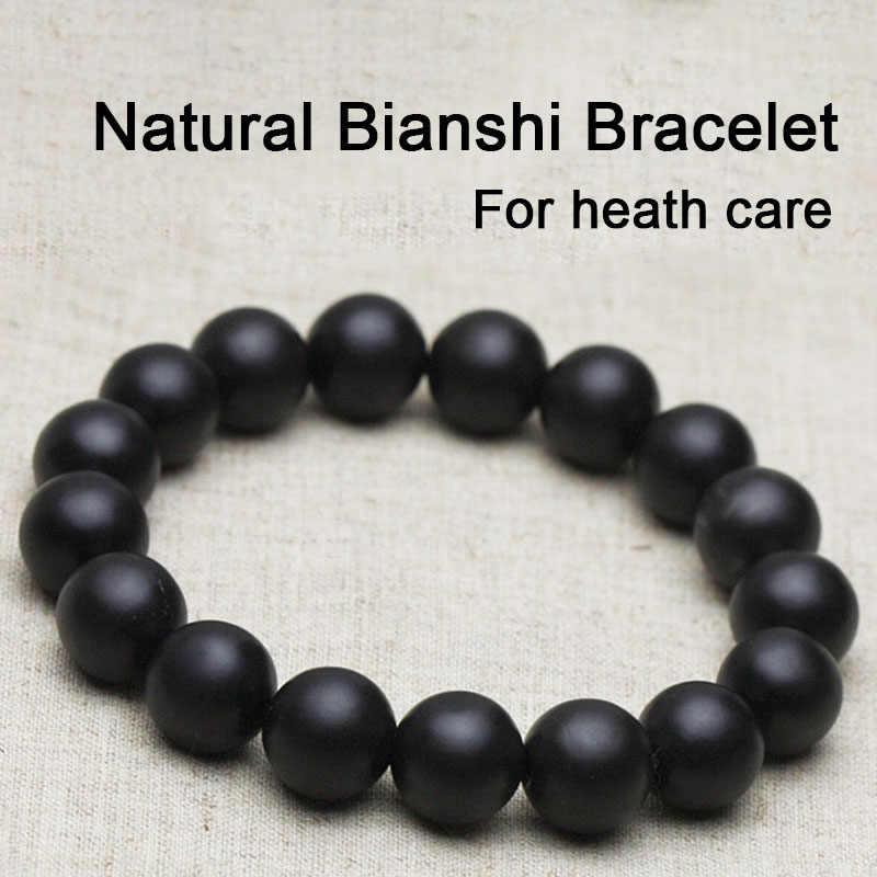 Korzyści dla kobiet mężczyzn bransoletka z czarnego jadeitu Bianshi naturalna pielęgnacja ciała wykonana z czarnego jadeitu kamień narzędzie igłowe masaż