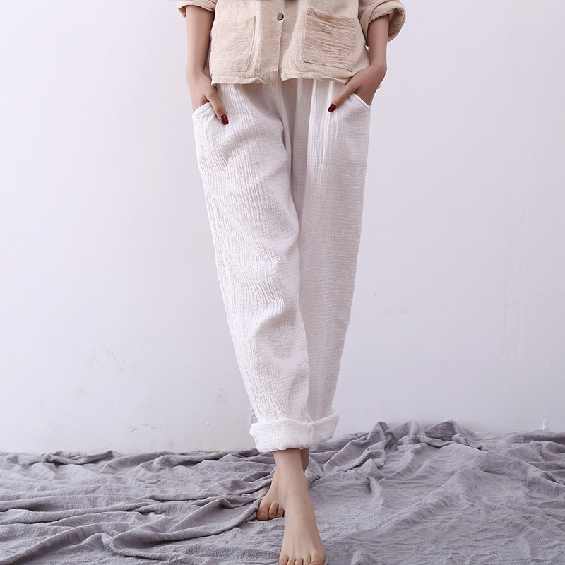 2016 women casual pants double cotton women white linen loose ...