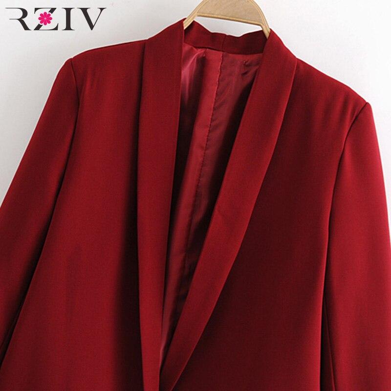 Image 5 - RZIV Женский блейзер, пиджак, пальто, повседневный Одноцветный пиджак на одной пуговице, OL Блейзер, костюм-in Пиджаки from Женская одежда on AliExpress