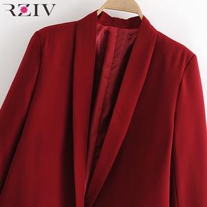 Image 5 - RZIV Женский блейзер, пиджак, пальто, повседневный Одноцветный пиджак на одной пуговице, OL Блейзер, костюм