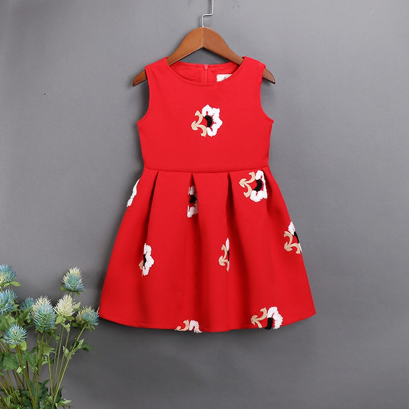 Brand Family look clothes children Clothing mama me kids girl floral embroidery sleeveless dress Mother Daughter fashion Dresses
