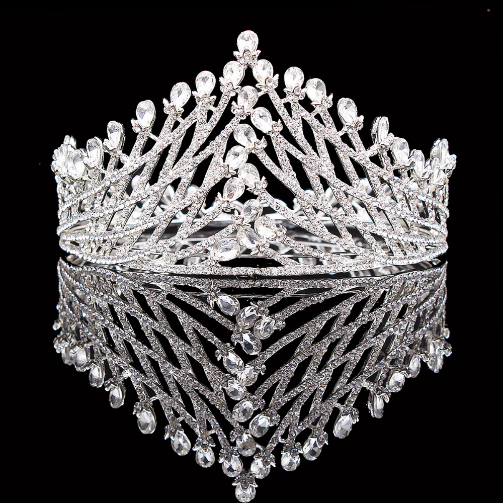 New Fashion Luxury Crystal Rhinestones Bridal Wedding Crowns Water Drop Design Tiara Princess Crown For Girls HG0052