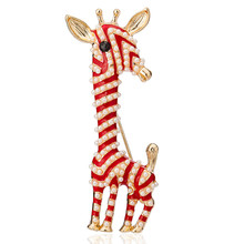 Lovely Simulated Pearl Enamel Giraffe Brooches Red Yellow Animal Needle Pins For Women Children Clothing Ornament Accessories