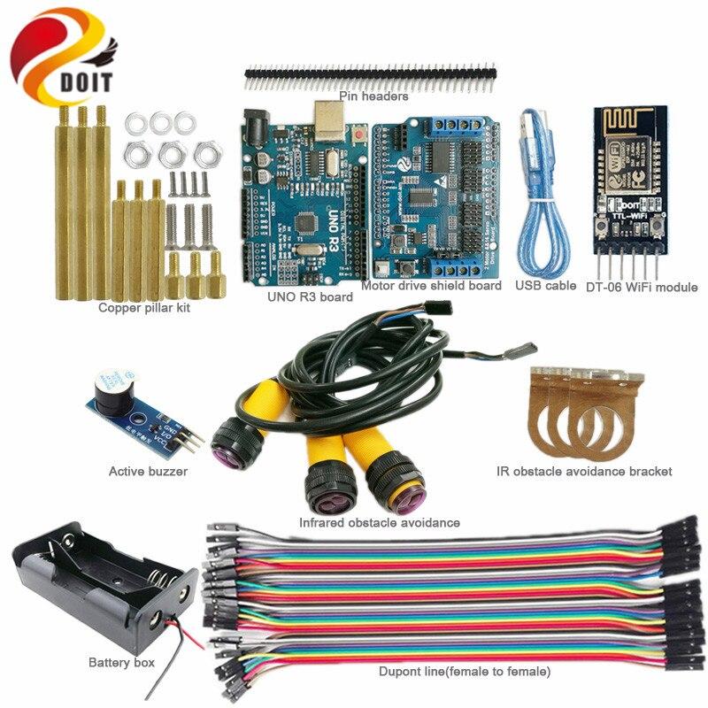 Kit de développement WiFi DOIT 1 set pour châssis Robot de réservoir à chenilles Arduino avec carte UNO + évitement d'obstacles IR + carte d'entraînement moteur