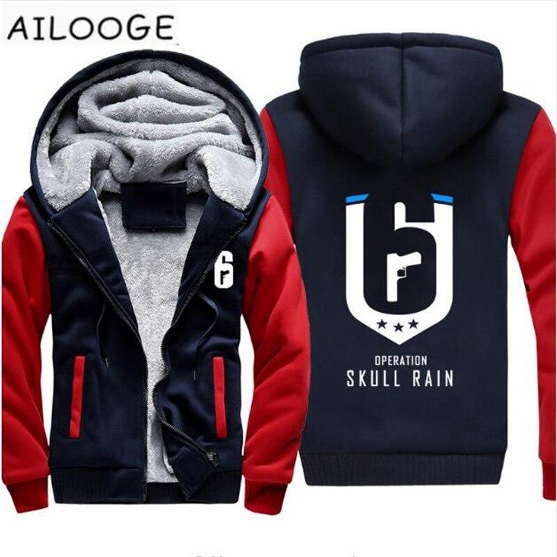 Autumn Winter Casual Game Rainbow Six Siege Hoodies Zip up Thick Winter Super Warm Cotton Sweatshirts Coats For Men