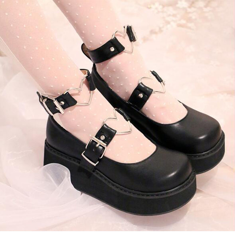Womens shoes wedge shoes heart-shaped ankle buckle 2018 new round head ladies shallow shoes platform shoesWomens shoes wedge shoes heart-shaped ankle buckle 2018 new round head ladies shallow shoes platform shoes