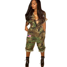 1d66e5992ca2 Fashion Camouflage Print Long Jumpsuit American Flag Patch Casual Short  Sleeve Zipper Open Loose Pants Overalls with Pockets