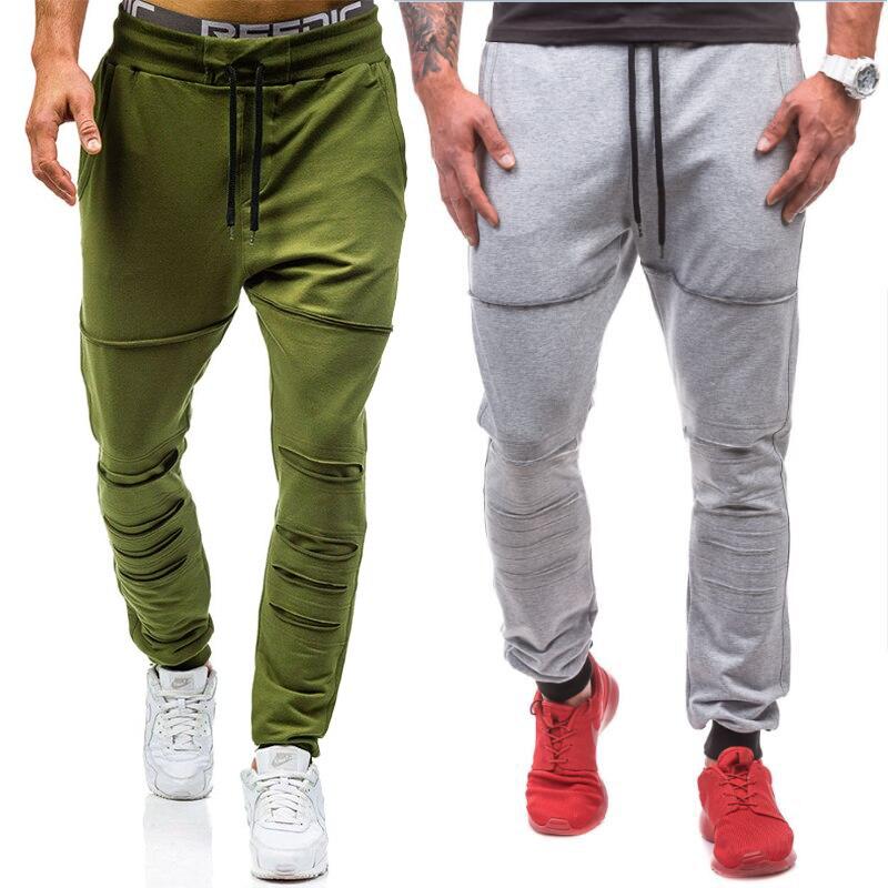 2019 Frühling Und Herbst Mode Neue Männer Casual Stretch Taille Jogginghose/männer Einfarbig Spitze-up Hosen