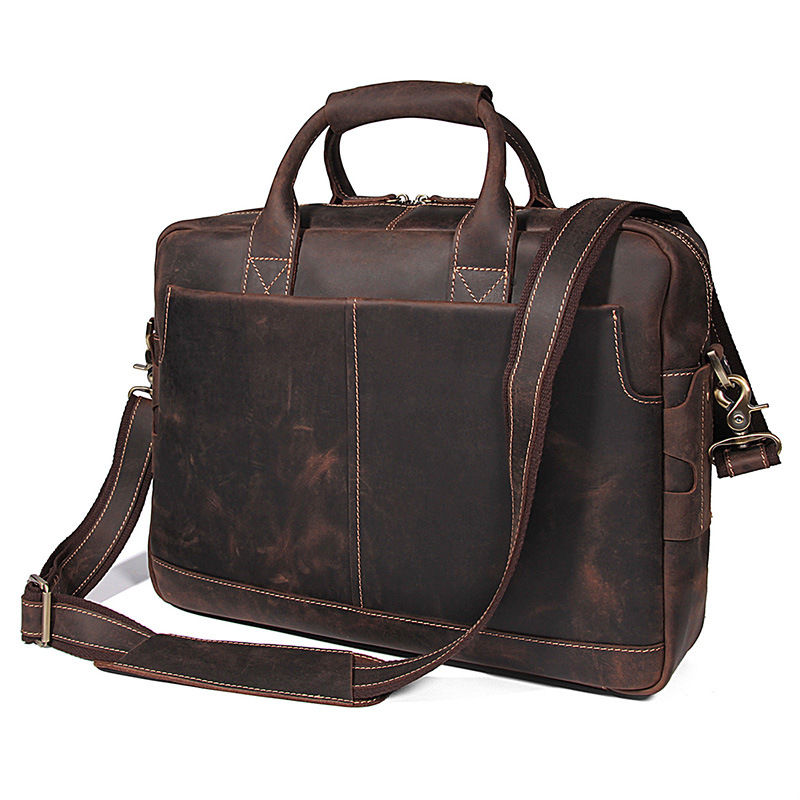 Nesitu Brown Genuine Leather Men Briefcase Messenger Bags Crazy Horse Leather Business Travel Bag 14'' Laptop Portfolio M7382
