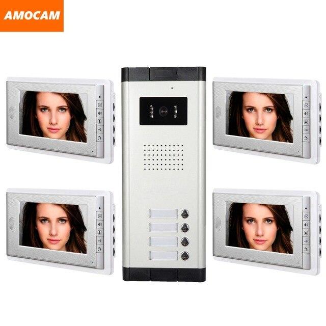 4 Unit apartments video intercom system 7 Inch video door phone Kit ...
