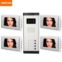 4 einheit apartments video intercom system 7 zoll video tür telefon Kit Video Tür Glocke visuelle gegensprechanlage für Wohnung