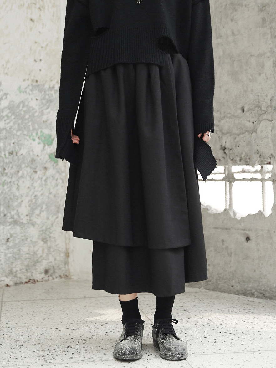 Midi Épaissir Designer Nouveauté Automne Maxi Polaire Japonais Goth Jupe Longues Asymétrique Boho Cakucool Hiver Jupes Noir CqvxtXwX1