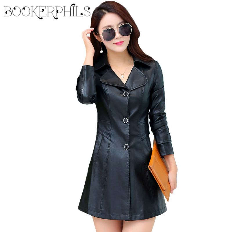 2019 Single Breasted Long Faux   Leather   Jacket Women Winter Autumn Coat Female Outerwear Ladies Jackets And Coats Plus Size 4XL