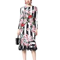 Roiii 2018 Spring Vintage Elegant Women Dress Floral Print Bodycon Trumpet Mermaid Long Sleeve Dresses Party Evening Vestidos