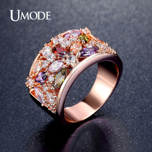 UMODE New Colorful  Rose Gold Plated Finger Ring for Women Fashion Jewelry AAA Multicolor Cubic Zircon Cocktail Ring AUR0333