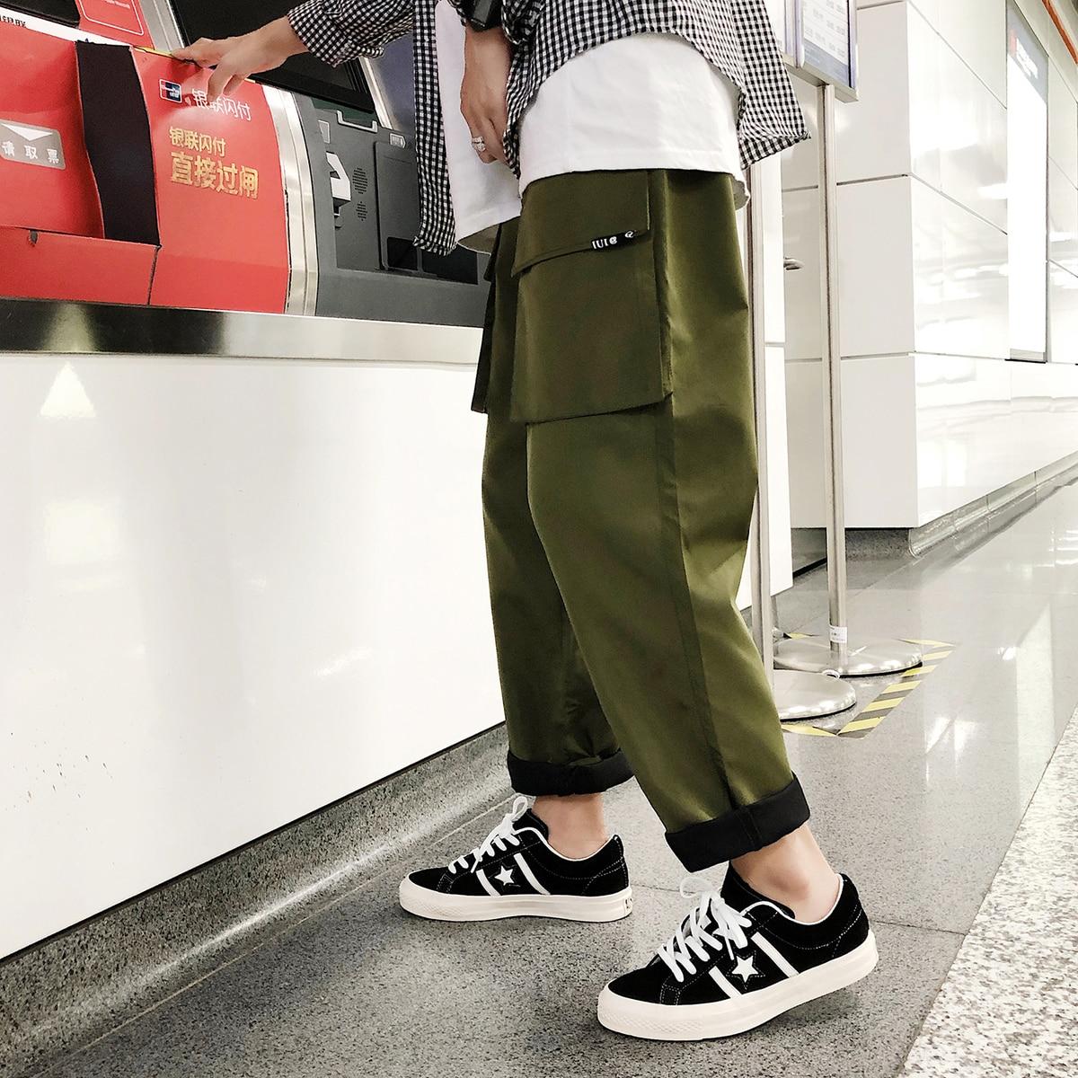 2018 Мужская Мода Multi-pocket Straight Повседневное брюки-карго с эластичной резинкой на талии Свободные Твердые Цвет зеленый/черные брюки Размеры M-2XL