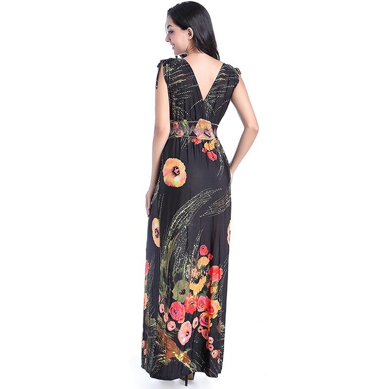 8904f374e07 Robe longue femme ete Women Summer Long Maxi Dress Sexy Open Back V Neck  Sleeveless Floral Beach Dress Vestidos verano-in Dresses from Women s  Clothing on ...