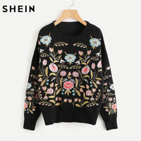 SHEIN Symmetric Botanical Embroidered Jumper Black Long Sleeve Casual Boho Pullovers 2017 Autumn Ladies Sweaters