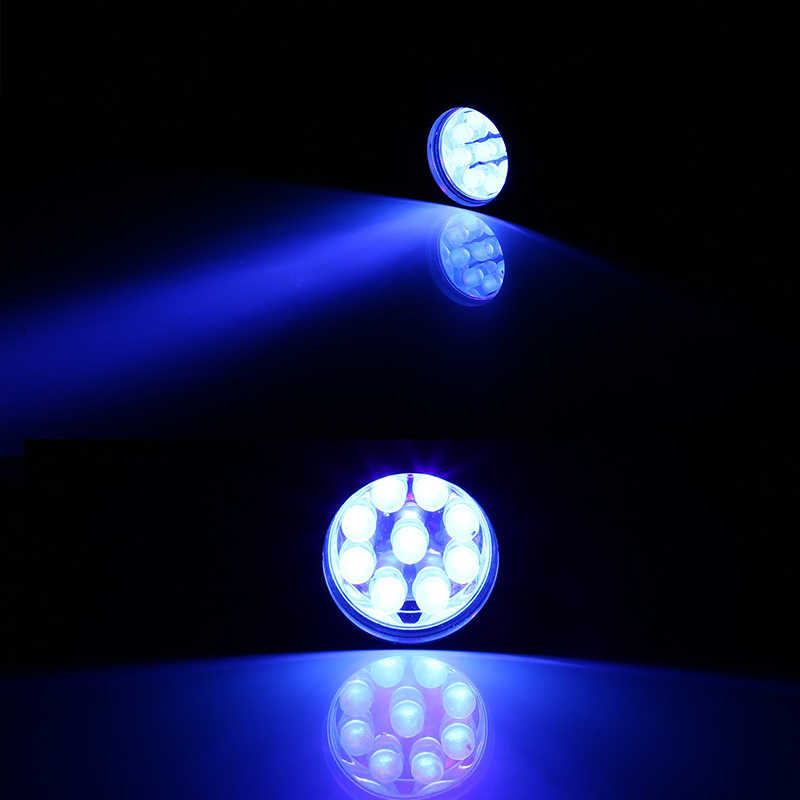 Linterna UV Ultra violeta luz negra 9 LED Mini linterna de aluminio AAA Detector de manchas de orina de mascota escorpión luz de la antorcha de caza