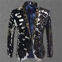 2018 Tide Men Color Sequins Suit Jacket Punk Nightclub Bar DJ Fashion Flip Paillette Blazer Stage Singer Costumes