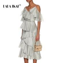 527af6dc8b LALA IKAI Autumn Women Solid Midi Dresses Strapless Sweet Irregular Ruffles  Chiffon