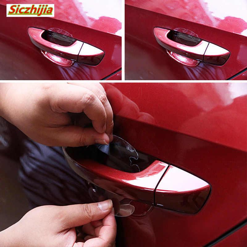 4ピース/セット。車ドアハンドルスクラッチ保護見えないステッカーテープ用フォルクスワーゲンvw poloティグアンpassatゴルフeosシロッコ