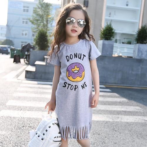 Big Girl Dresses Summer 2016 New Children's Clothing Kids doughnut printed Dress cotton Princess Dresses Girls Kids 9 10 11Years