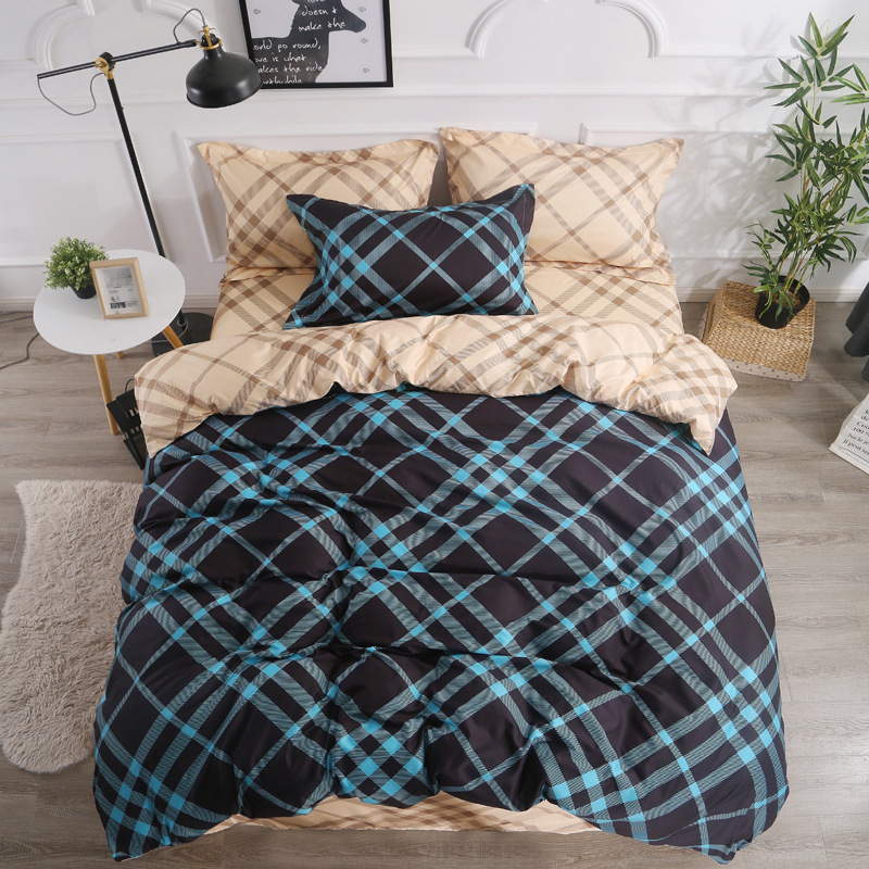 Scotland Style Home Textile Strip Geometric Bedding Sets Childrens Beddingset Bed Linen Duvet Cover Sheet  bed