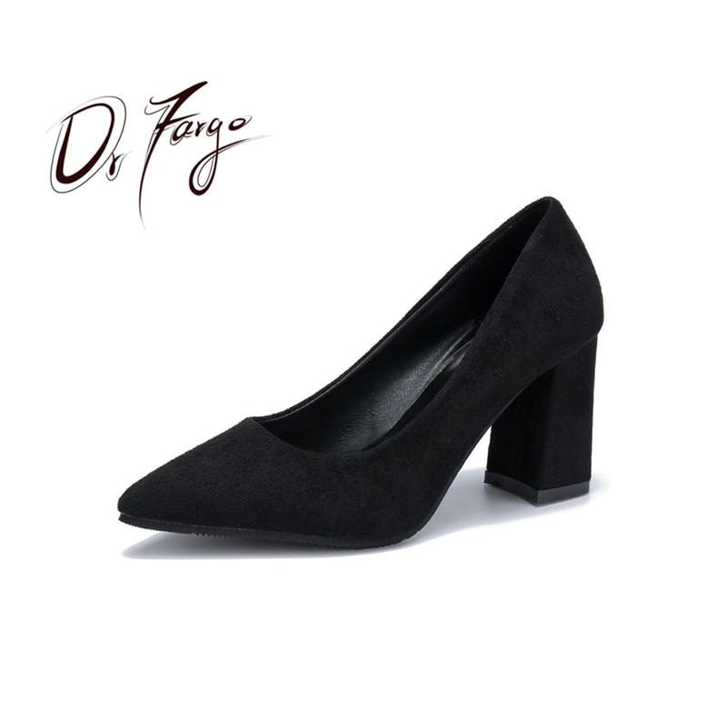 e9dee3448dd6 DRFARGO Shoes Women High Heels Shoes 7.5 cm Block Heel Sexy Pointed Toed Woman  Pumps Working