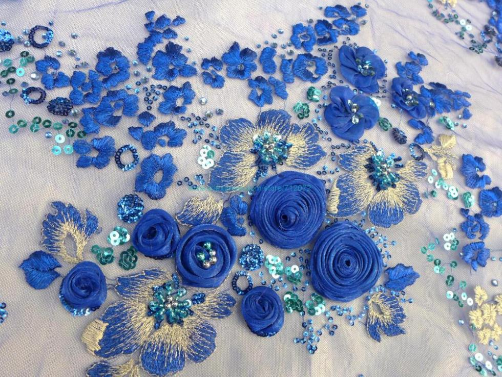 On sale 3d rose beaded sequins lace fabric 51 inches width for Cloth for sale by the yard